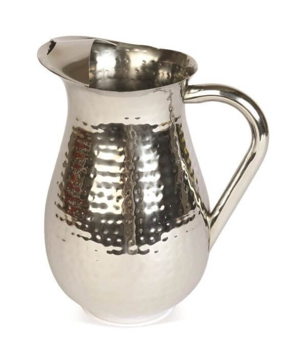 Tall silver hammered metal jug