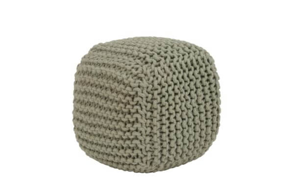 Green/grey chunky knit pouffe
