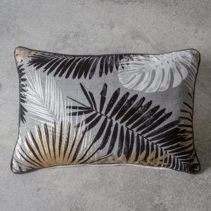 Black, white and gold leaf cushion