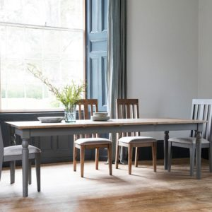 The Rural Extending Oak Dining Table Set- Slate Grey (1.5m)
