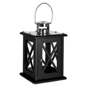 Hampstead Lantern Small / Black Criss Cross MDF / Stainless Steel