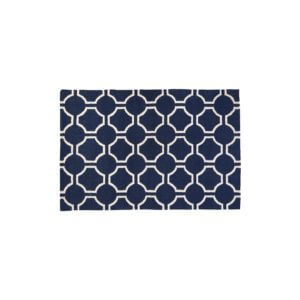 South Beach Rug Navy Blue and White Cotton/Wool Hand Woven W180 x D120 x H1cm