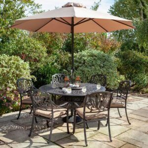 2020 Hartman Amalfi 6 Seat Round Dining Table Set - Bronze/Amber