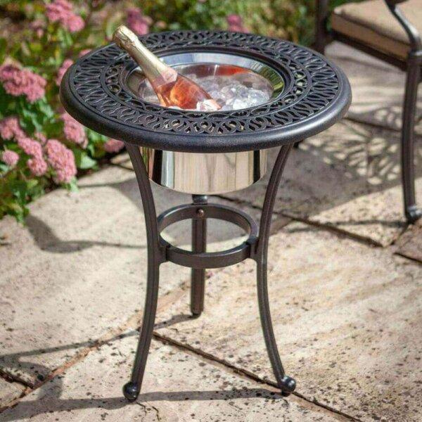 2019 Hartman Amalfi 54cm Round Bistro Table With Bronze Ice Bucket