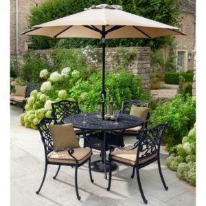 2019 Hartman Capri 4 Seater Round Garden Dining Table Set - Bronze/Amber