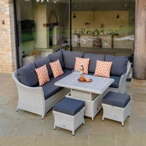 2019 Bramblecrest Monterey Outdoor Sofa Set With Adjustable Garden Dining Table