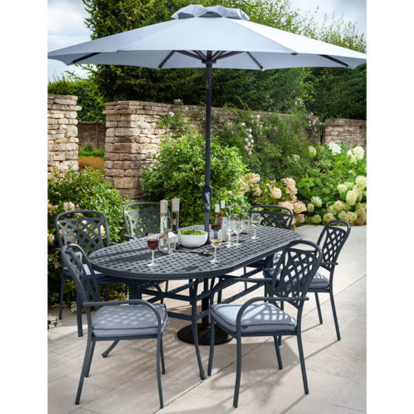 Hartman Berkeley 6 Seat Garden Dining Set With Oval Table & Parasol - Antique Grey/Platinum
