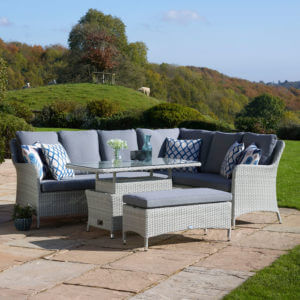 2020 Bramblecrest Tetbury Garden Sofa Set With Rectangle Adjustable Tree-Free Table & Dining Bench - Cloud