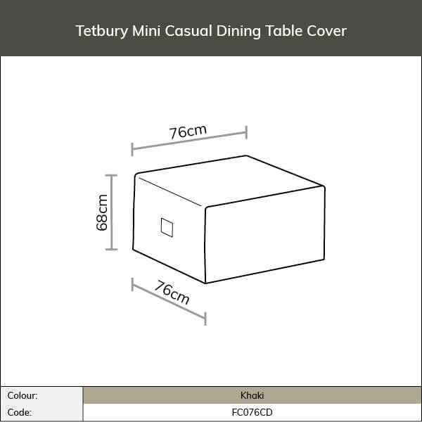 Diagram and measurements for Tetbury mini casual dining table cover