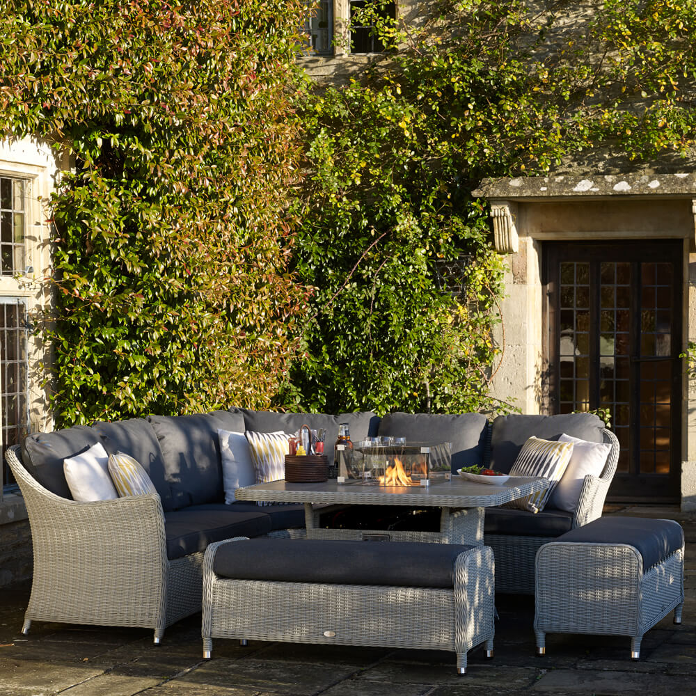2021 Bramblecrest Monterey Garden Sofa Set With 2 Benches & Square Fire Pit Dining Table - Dove Grey