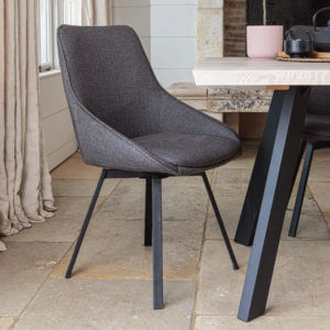 Fabric Dining Chair Dark Grey Gaudi Close Up on pale stone floor