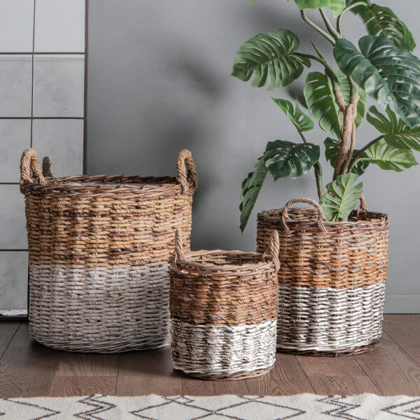 Rustica tube Baskets white And Natural Set Of 3 varying sizes