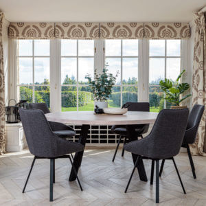 Valencia Round Natural Oak Dining set with 5x Gaudi Dining Chair Dark Grey in bay window