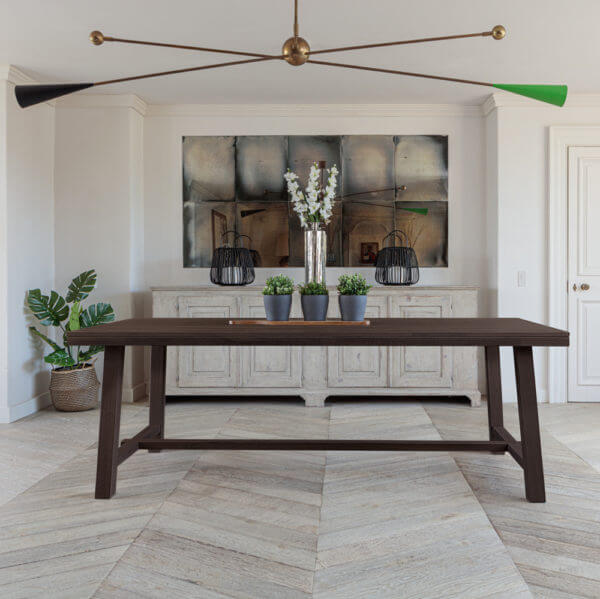 Kitsilano 2.2m extendable solid oak dining table dark brown with 3 plant pots on in farmhouse room
