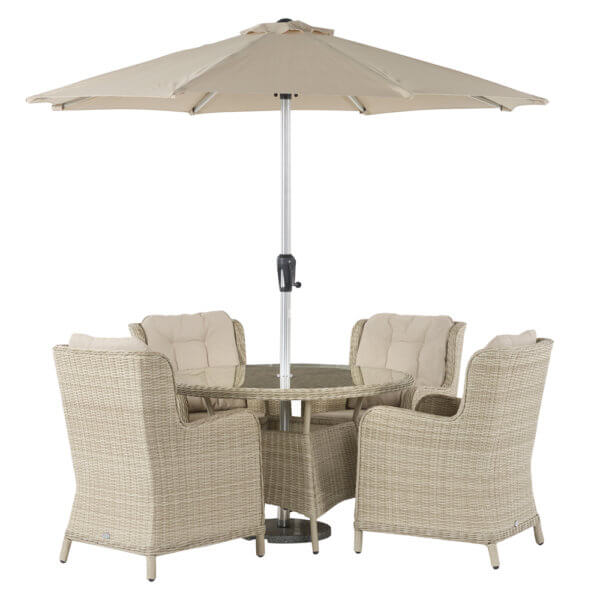 Cut_Out_Image_Of_4_Seat_Garden_furniture_With_Parasol_White_Background