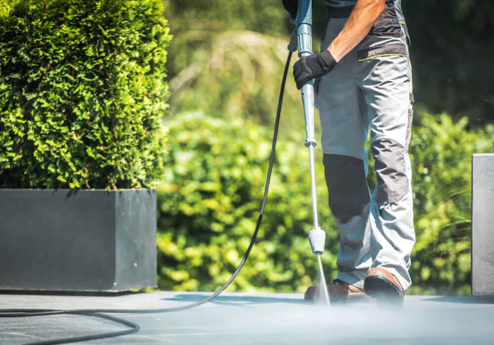 Pressure cleaning a patio