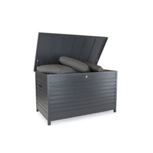 An opened Kettler Large Aluminium Storage Box filled with outdoor cushions